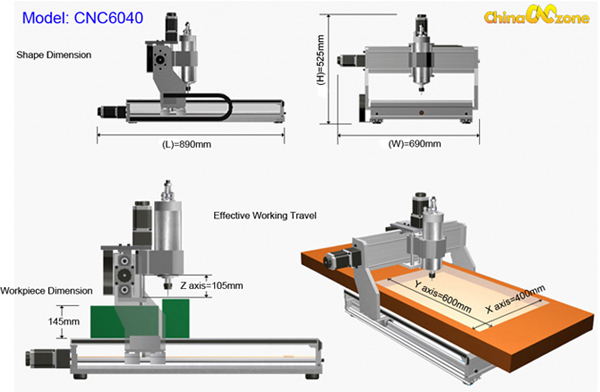 CNC 6040 work dimension